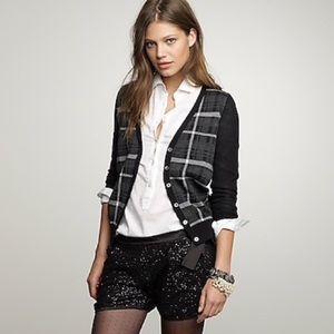 J. CREW 100% Merino wool plaid buttoned cardigan